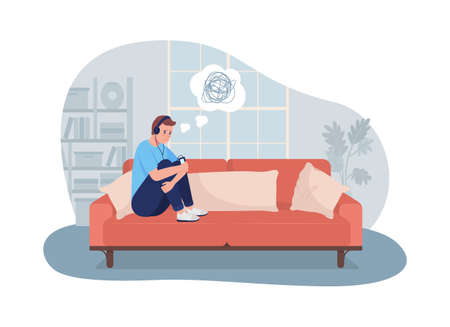 Sad lonely teen boy at home 2D vector isolated illustration. Sitting at home depressed. Child listening to music in headphones flat characters on cartoon background. Teenager problem colorful scene