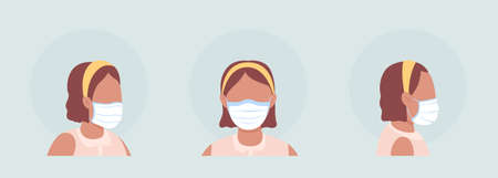 Latino girl semi flat color vector character avatar with mask set. Portrait with respirator from front and side view. Isolated modern cartoon style illustration for graphic design and animation pack