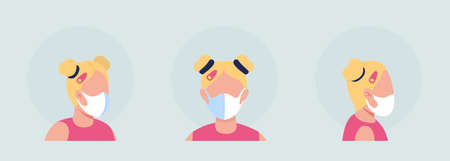Blond female semi flat color vector character avatar with mask set. Portrait with respirator from front and side view. Isolated modern cartoon style illustration for graphic design and animation pack