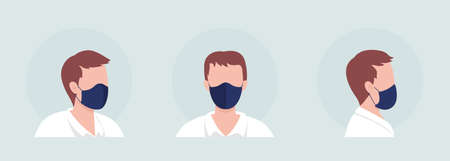 Man semi flat color vector character avatar with mask set. Portrait with respirator from front and side view. Isolated modern cartoon style illustration for graphic design and animation pack