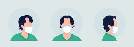 Dark haired semi flat color vector character avatar with mask set. Portrait with respirator from front and side view. Isolated modern cartoon style illustration for graphic design and animation pack 矢量图像