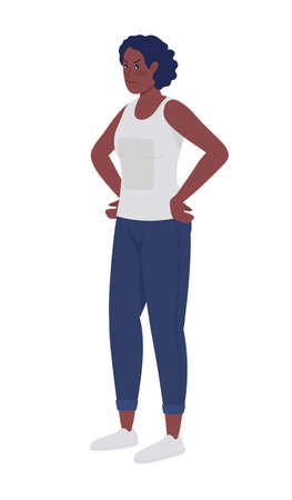 Upset woman with hands on hips semi flat color vector character. Posing figure. Full body person on white. Problems, stress isolated modern cartoon style illustration for graphic design and animation