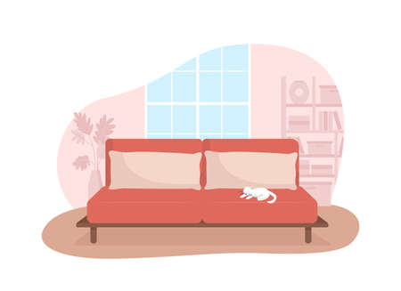 Living room with red couch 2D vector isolated illustration. Sofa with cat sleeping on top. Contemporary furnishing. Cozy apartment flat interior on cartoon background. Home colorful scene 矢量图像