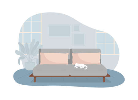 Living room with gray sofa 2D vector isolated illustration. Comfortable couch for rest. Modern house furnishing. Cozy apartment flat interior on cartoon background. Home colorful scene 矢量图像