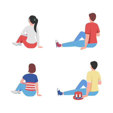 Sitting people on picnic semi flat color vector characters set. Relaxed figure. Full body people on white. Fun isolated modern cartoon style illustration for graphic design and animation collection