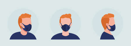 Red haired semi flat color vector character avatar with mask set. Portrait with respirator from front and side view. Isolated modern cartoon style illustration for graphic design and animation pack