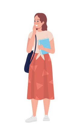 Laughing teen girl student semi flat color vector character. Standing figure. Full body person on white. Teen problems isolated modern cartoon style illustration for graphic design and animation