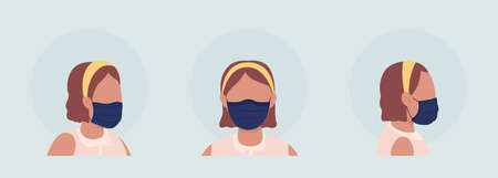 Wearing pleated mask semi flat color vector character avatar set. Portrait with respirator from front and side view. Isolated modern cartoon style illustration for graphic design and animation pack