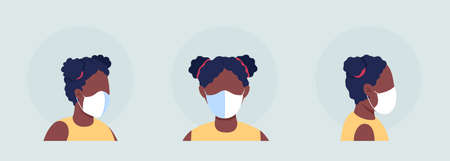 African girl with mask semi flat color vector character avatar set. Portrait with respirator from front and side view. Isolated modern cartoon style illustration for graphic design and animation pack
