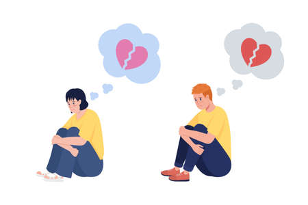 Heartbroken teenager semi flat color vector character set. Sitting figure. Full body people on white. Teen issue isolated modern cartoon style illustration for graphic design and animation collection