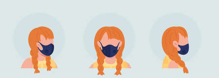 Red haired girl semi flat color vector character avatar with mask set. Portrait with respirator from front, side view. Isolated modern cartoon style illustration for graphic design and animation pack