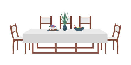 Dining table for family semi flat color vector object. Modern home furniture. Realistic item on white. House furnishing isolated modern cartoon style illustration for graphic design and animation 矢量图像