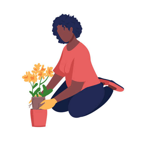 Woman gardening semi flat color vector character. Cultivate plant. Sitting figure. Full body person on white. Hobby isolated modern cartoon style illustration for graphic design and animation 矢量图像