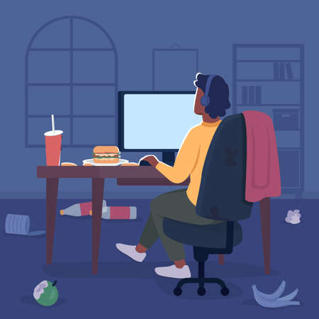 Freelancer in messy room flat color vector illustration. Man in headphones at desktop screen with trash on table. Gamer at computer 2D cartoon character with bedroom interior on background
