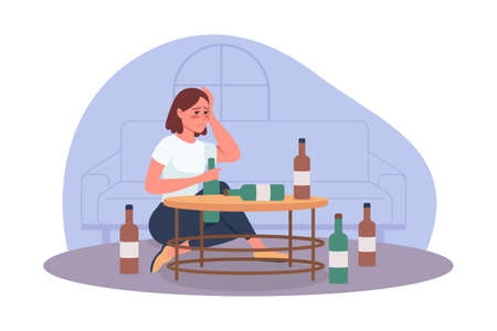 Alcoholism problem 2D vector isolated illustration. Unhealthy lifestyle. Person with substance abuse issue. Alcoholic woman flat characters on cartoon background. Bad habit colorful scene