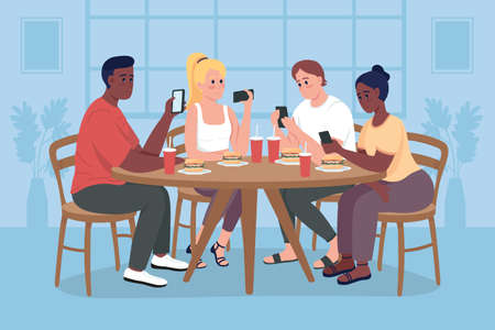 Students on mobile phones flat color vector illustration. People with digital addiction. Problem with communication. Friend group at dining table 2D cartoon characters with home interior on background