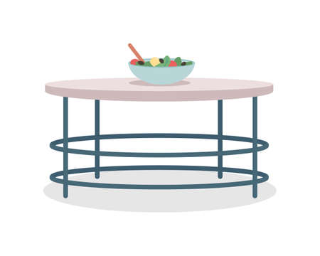 Round kitchen table semi flat color vector object. Modern home furniture. Realistic item on white. Household furnishing isolated modern cartoon style illustration for graphic design and animation