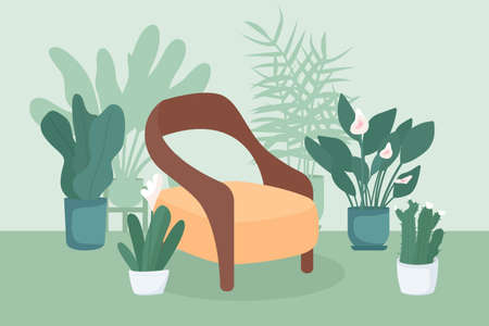 Indoor garden flat color vector illustration. Relaxation spot at home. Place for rest indoors. Chair near houseplants. Household cozy 2D cartoon interior with potted plants and flowers on background