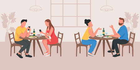 Couples on date in cafe flat color vector illustration. Boyfriend and girlfriend talking at table. Partner with phones. Two group of people 2D cartoon characters with cafeteria interior on background