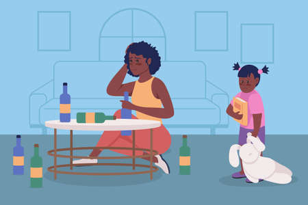 Alcoholism issue in family flat color vector illustration. Upset woman sit with bottles. Substance abuse. Drunk mother and anxious daughter 2D cartoon characters with home interior on background