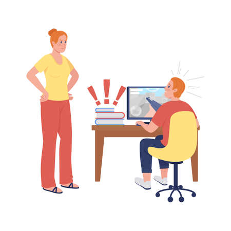 Mother upset with son semi flat color vector characters. Standing and sitting figures. Full body people on white. Teen issue isolated modern cartoon style illustration for graphic design and animation