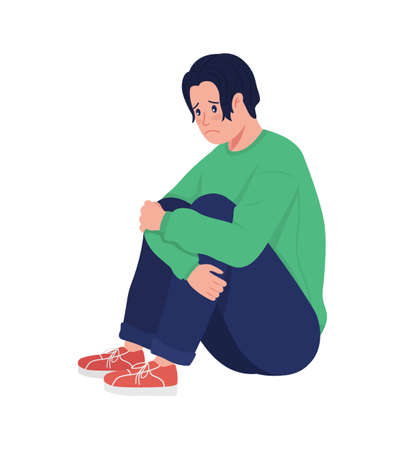 Lonely depressed teenager boy semi flat color vector character. Sitting figure. Full body person on white. Teen problems isolated modern cartoon style illustration for graphic design and animation 矢量图像