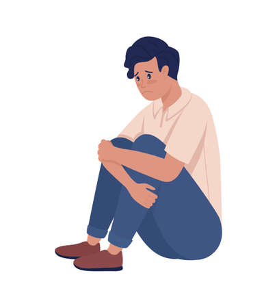Sad lonely teenager boy semi flat color vector character. Sitting figure. Full body person on white. Teen problems isolated modern cartoon style illustration for graphic design and animation