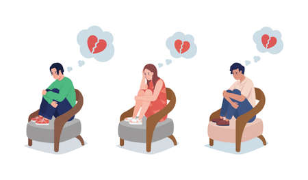 Teen upset over love semi flat color vector character set. Sitting figure. Full body people on white. Break up isolated modern cartoon style illustration for graphic design and animation collection