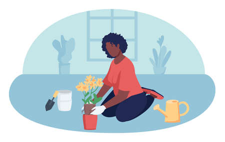 Woman gardening indoors 2D vector isolated illustration. Leisure activity while staying at home. Girl with houseplant flat character on cartoon background. Creative hobby colorful scene