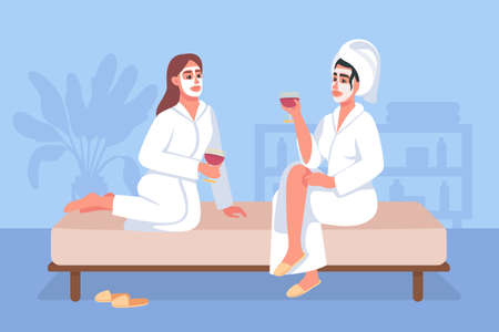 Spa day at home flat color vector illustration. Women in cosmetic facial masks and bath robes drink wine and relax. Friends 2D cartoon characters with cozy home interior on background