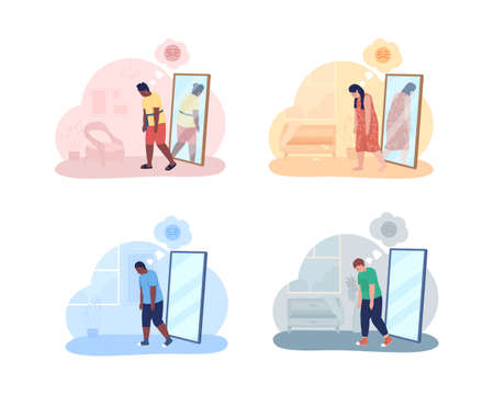 Teenager with overweight problem 2D vector isolated illustration. Mental health issue. Obese girl and boy in front of mirror flat characters on cartoon background. Teenager problem colorful scene 矢量图像