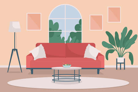 Cozy living room flat color vector illustration. Lifestyle and indoor relaxation. Residential household with furniture. Home 2D cartoon interior with modern furnishing on background 矢量图像