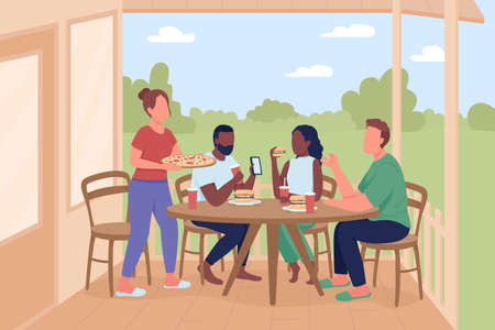 Friends at outdoor dinner party flat color vector illustration. Leisure activity with pizza eating. Men and women 2D cartoon characters with home patio and summer landscape on background 矢量图像
