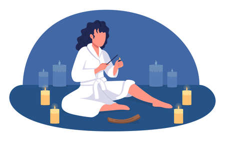 At home spa 2D vector isolated illustration. Girl lighting scent stick for aromatherapy. Woman in bathrobes flat characters on cartoon background. Relaxation and mindfulness colorful scene 矢量图像