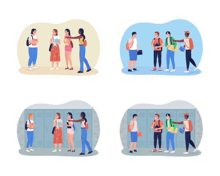 Bullying teenagers at school 2D vector isolated illustration set. Peer pressure. Classmates mock girl and boy flat characters on cartoon background. Teenager problem colorful scene collection 矢量图像