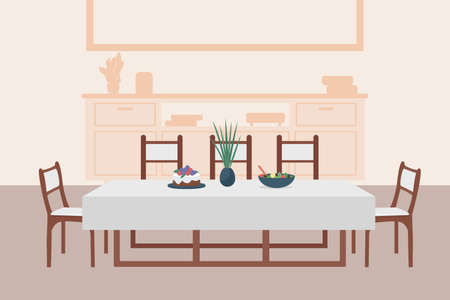 Luxury dining room flat color vector illustration. Comfortable contemporary household. Table with chairs for family with meal serving. Kitchen 2D cartoon interior with cupboards on background