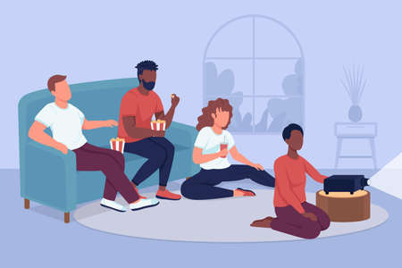 Friends movie marathon flat color vector illustration. Home party for spending time together. Weekend leisure activity. Men and women 2D cartoon characters with house interior on background