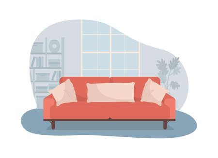 Living room with red sofa 2D vector isolated illustration. Comfortable couch for relaxation. Modern furnishing. Cozy apartment flat interior on cartoon background. Home colorful scene