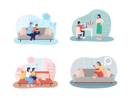 Teenager problems 2D vector isolated illustration set. Parent support to kid. Adolescent child with depressing thoughts flat characters on cartoon background. Teen issues colorful scene collection