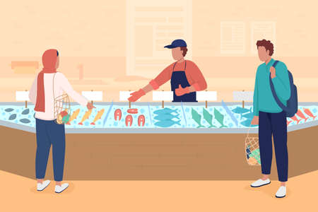 Seafood market flat color vector illustration. Buying fish and fish products. Selling fresh and frozen seafood. Fishmonger and consumers 2D cartoon characters with market stall on background Vecteurs