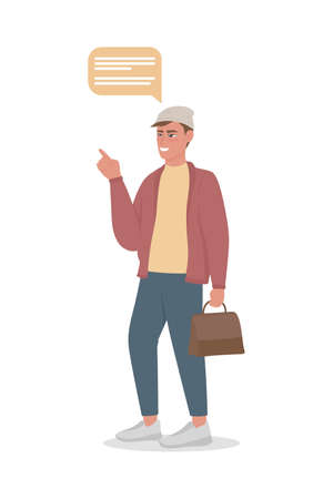 Compulsive male talker semi flat color vector character. Standing figure. Full body person on white. Talking too much isolated modern cartoon style illustration for graphic design and animation Vektoros illusztráció