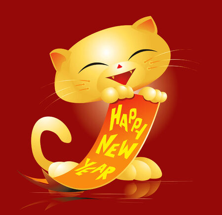 happy new year banner: Happy New Year Cat Illustration