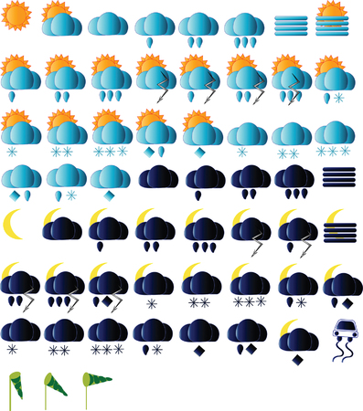 sunny cold days: Weather icons for all seasons, day and night Illustration