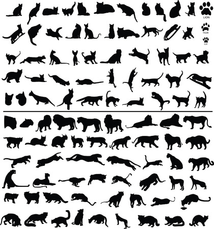 100 silhouettes of big and small cats Illustration
