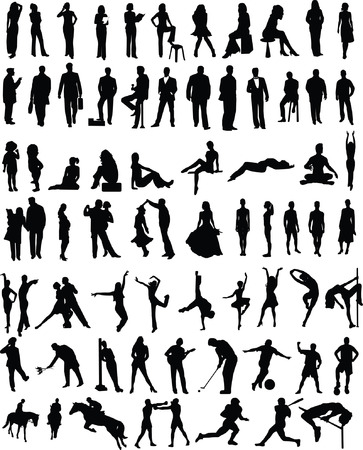 silhouette of bride: Plenty of different vector people silhouettes