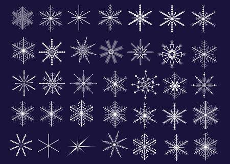iceflower: Raccolta di 35 fiocchi decorativi. Vector illustration