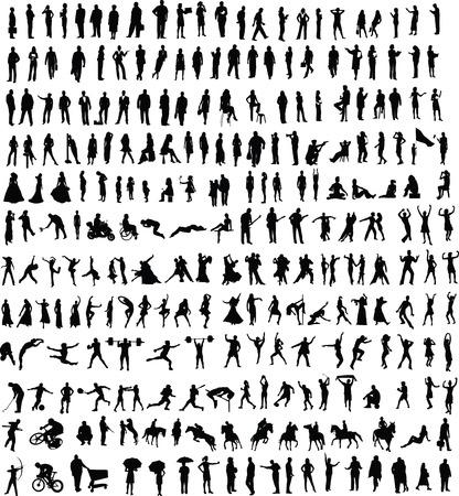 kind silhouet: Honderden mensen silhouetten van verschillende vector