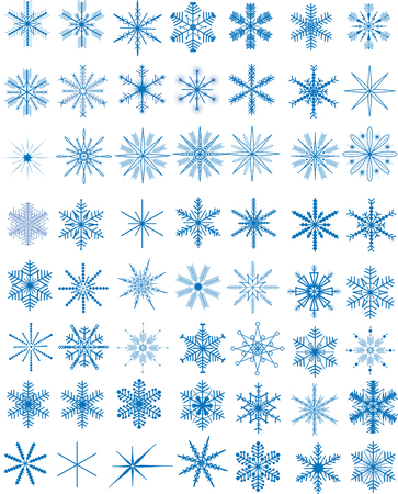 Set of 56 blue snowflakes, vector illustration