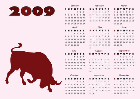 2009 calendar with ox (symbol of 2009 year). Starts Sunday.  Illustration