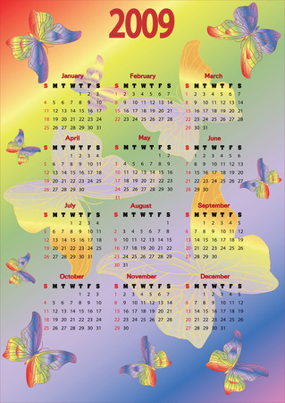 2009 coloured calendar with butterflies. Starts Sunday Illustration